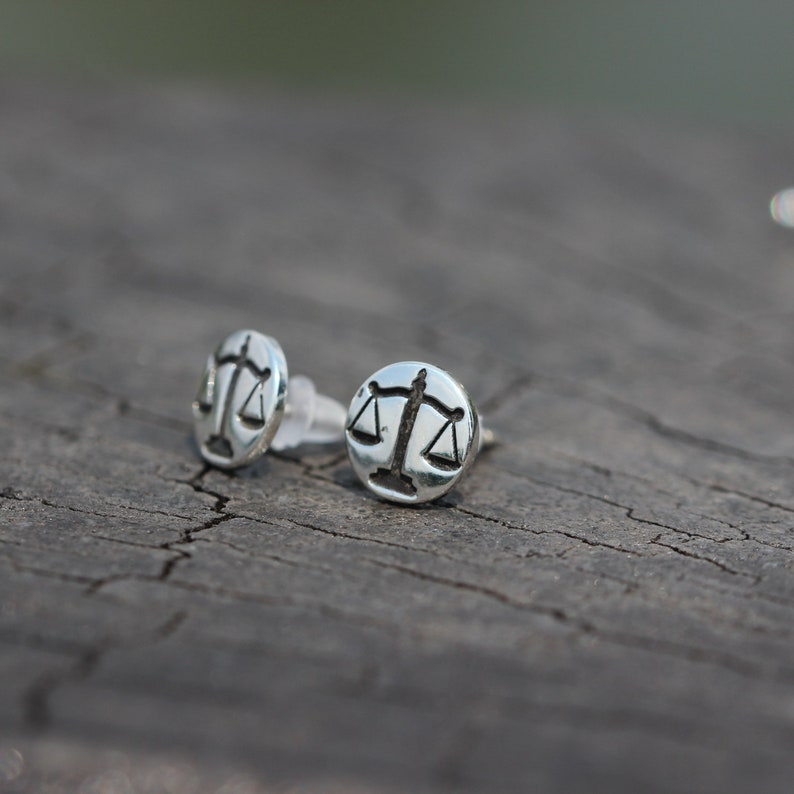sterling silver Libra stud earrings,balance earrings,balance jewelry,Zodiac earrings