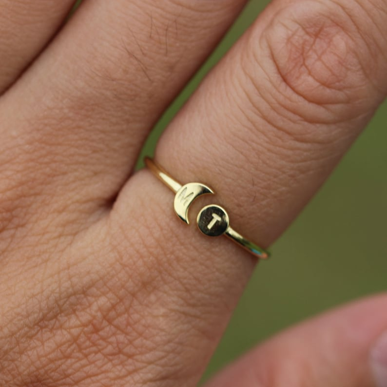 14k solid gold Personalized Open sun and moon Ring,Gold initial ring,Custom Initials Ring,His and Hers Rings,Night and Day Ring,Gold ring