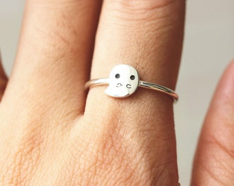 ghost ring,Spooky ring,solid 925 silver Halloween Jewelry