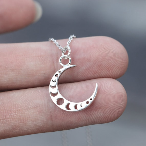 925 sterling silver moon phase necklace,silver Crescent Moon necklace,Dainty silver Moon Necklace,Choker Moon Necklace,celestial jewelry