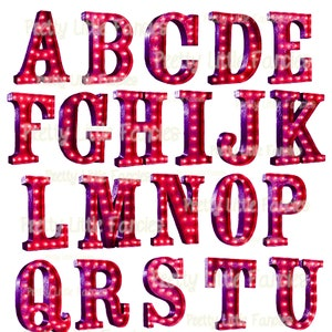 Marquee Alphabet Letters Funky Lights Digital Graphic Design Elements Clipart