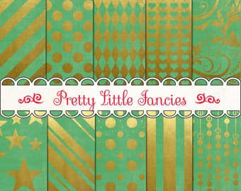 Digital Gold Foil and Green Backgrounds 12x12 Scrapbook Paper Pack