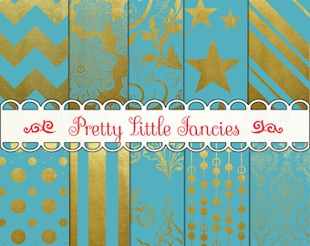 Digital Gold Foil and Blue Backgrounds 12x12 Scrapbook Paper Pack