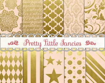 Digital Gold Foil and Blush Backgrounds 12x12 Scrapbook Paper Pack