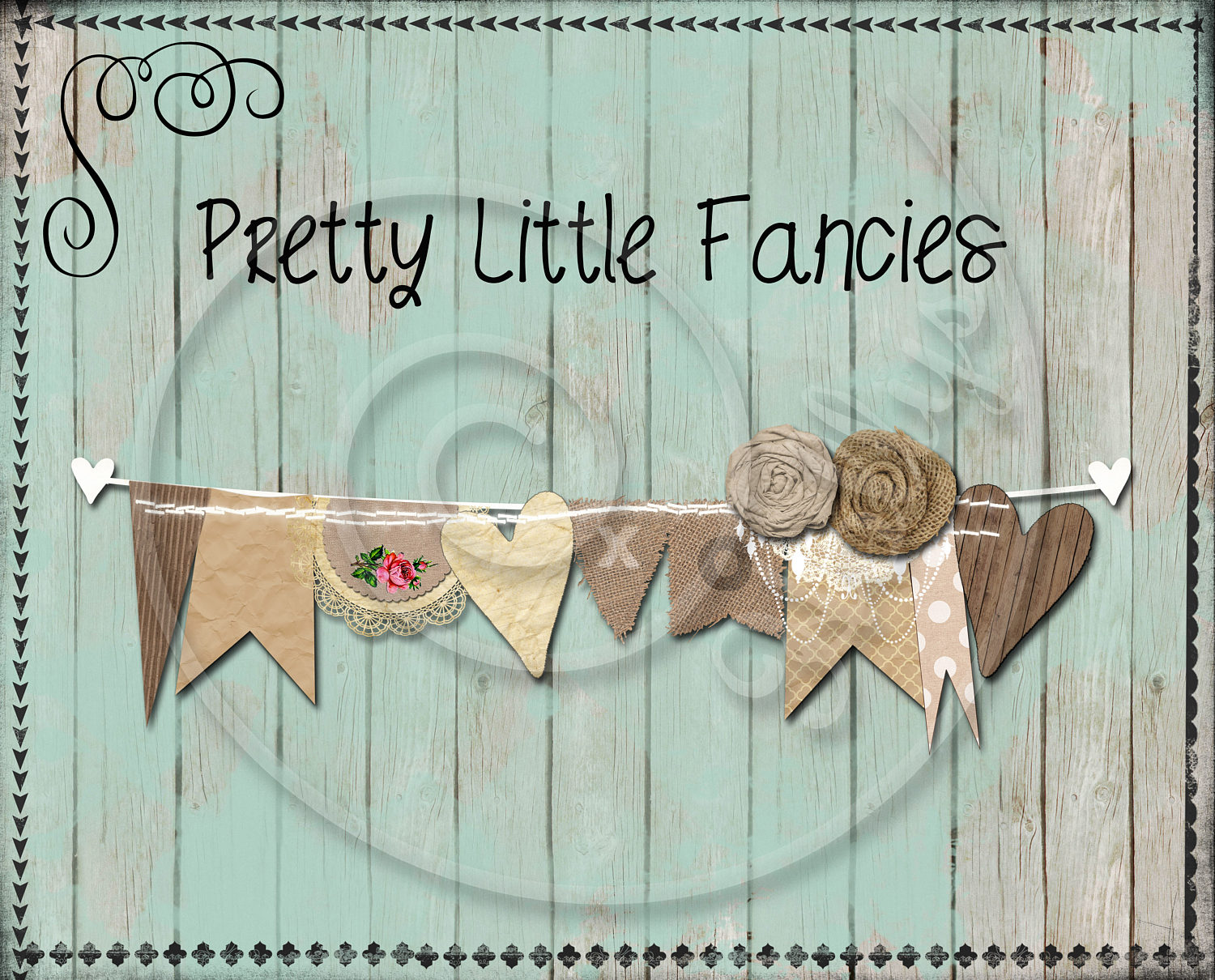 Digital Burlap and Lace Rustic Banner Clipart | Etsy