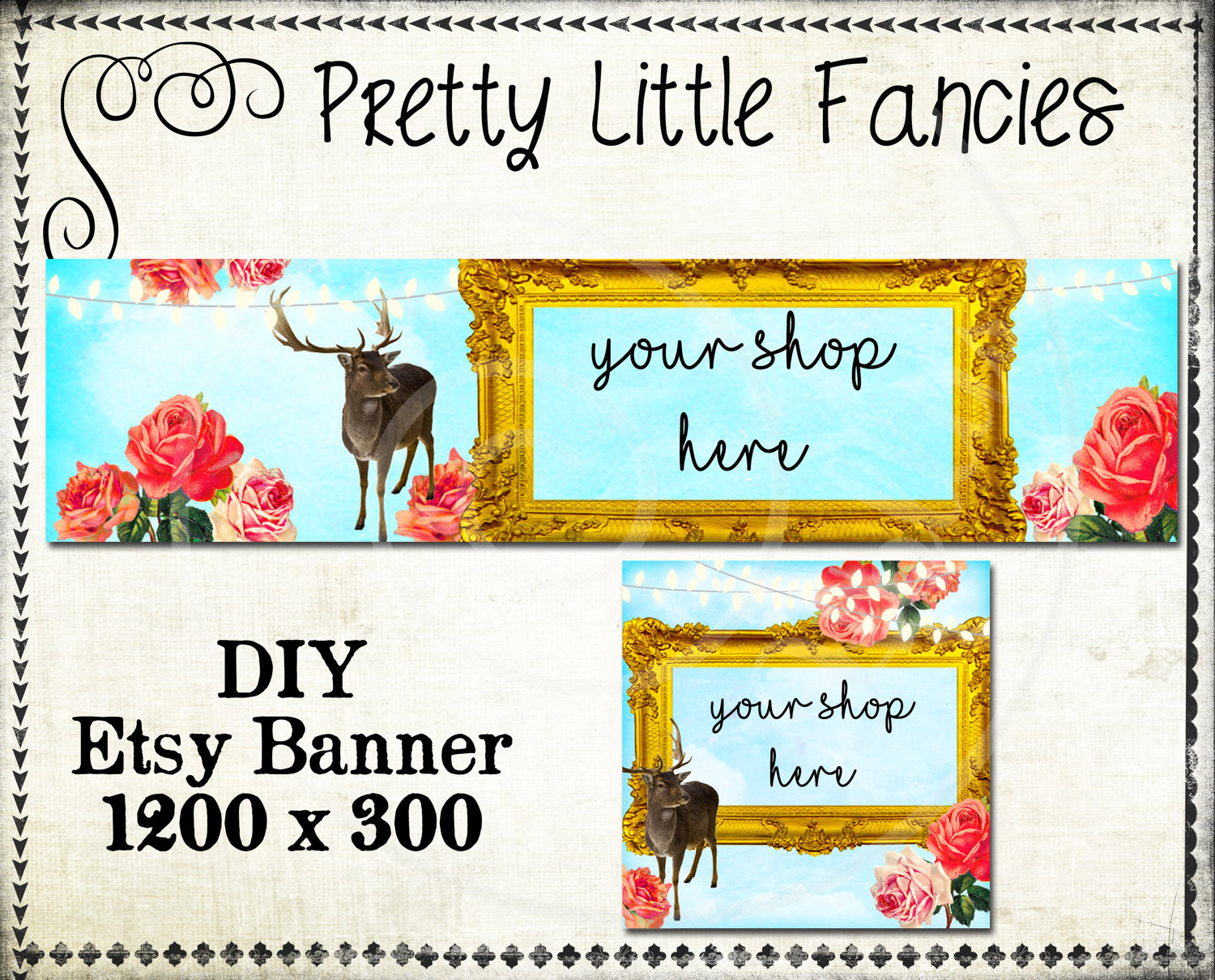 Etsy Shop Banner Diy Banner Template Premade Etsy Store Large Etsy