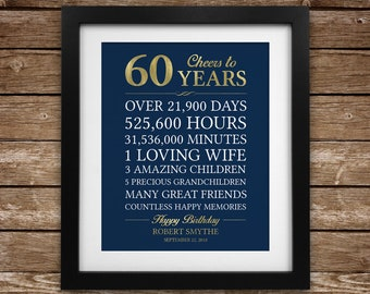 Cheers To 60 Years 60th Birthday Gift For Man Personalized Dad Stats Printable