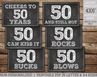 50th Birthday Signs 4x6 Black and White String Lights Cheers to 50 Blows Sucks Rocks Can Kiss It Still Hot Printable INSTANT DOWNLOAD #110