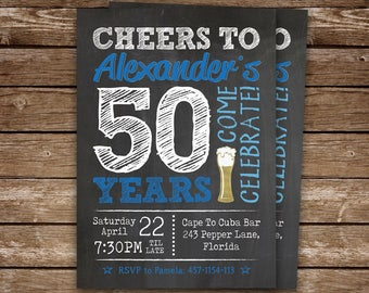 50th Birthday Invitation Man Cheers To 50 Years Invite Printable Adult Party 40th 60th 70th