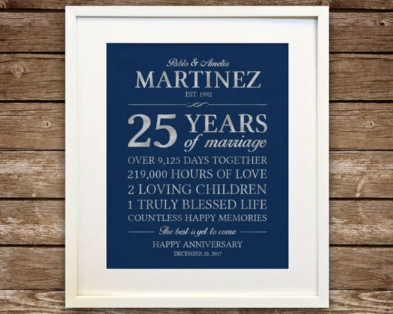 Silver Wedding Anniversary Gifts For Parents: 25th Anniversary Gift, Silver Anniversary, Printable