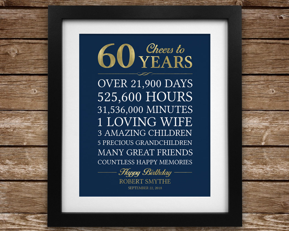 Cheers To 60 Years 60th Birthday Gift For Man Personalized