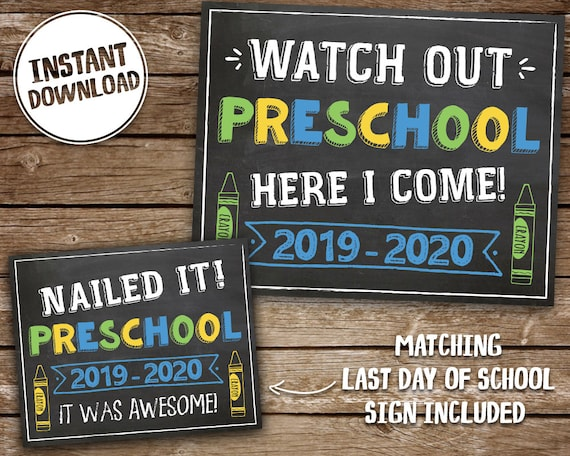 photo regarding First Day of Preschool Sign Free Printable named Initially Working day of Preschool Indicator for Boy, PRINTABLE Preschool