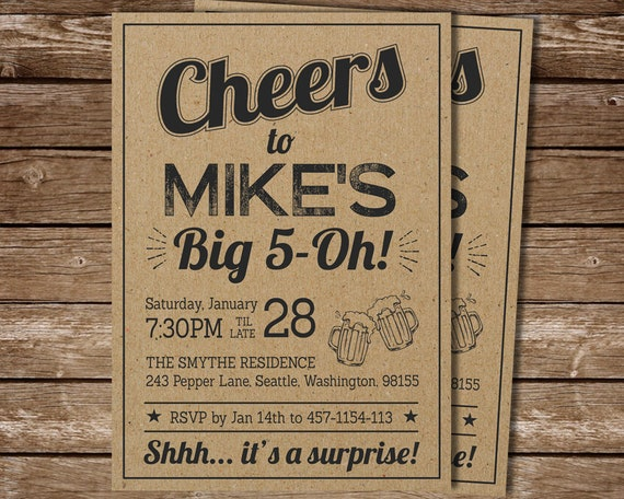 Surprise 50th Birthday Invitation For Man Cheers To Big 5 Oh