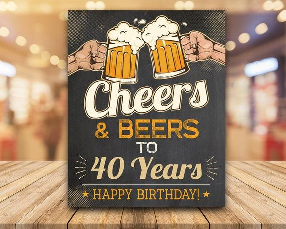 40th Birthday Chalkboard Style Thanks Men Women Thank You Cheers /& Beers 4\u201d x 6\u201d DIGITAL Printable