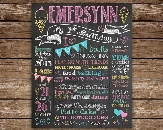 ice cream theme birthday girl chalkboard first birthday chalkboard