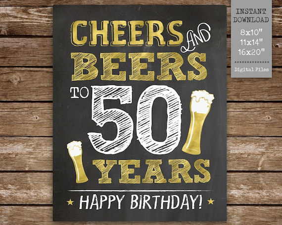 photo relating to Free Printable 50th Birthday Signs known as Cheers and Beers in direction of 50 Yrs Printable Indication, 50th Birthday