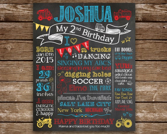 Second Birthday Chalkboard 2nd Sign Printable Chalk Poster Trucks Trains Custom Colors And Theme