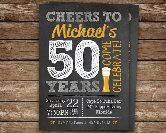 50th Birthday Invitation For Men Chalkboard Invite Man