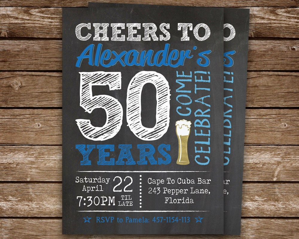 50th Birthday Invitation Man Cheers To 50 Years