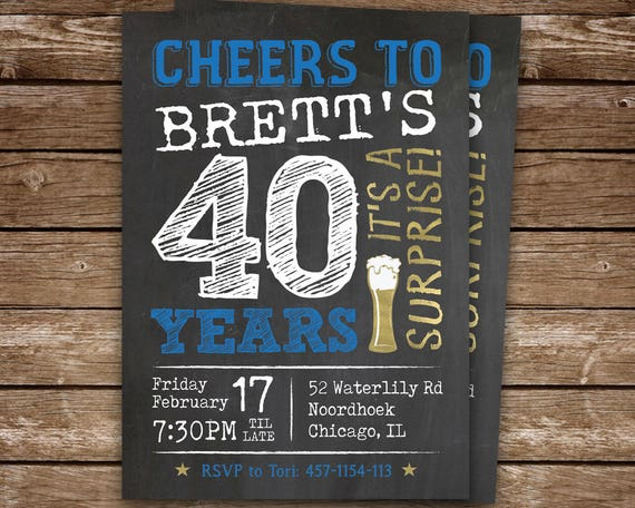 Surprise Party 40th Birthday Invitation For Man Cheers To 40 Years