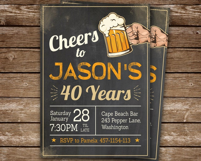 40th Birthday Invitation For Man Cheers To 40 Years Invite Chalkboard Party Digital Printable