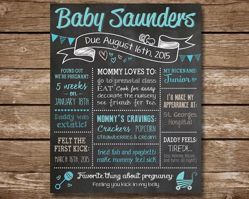 Custom Baby Shower Chalkboard Poster Sign Boy Or