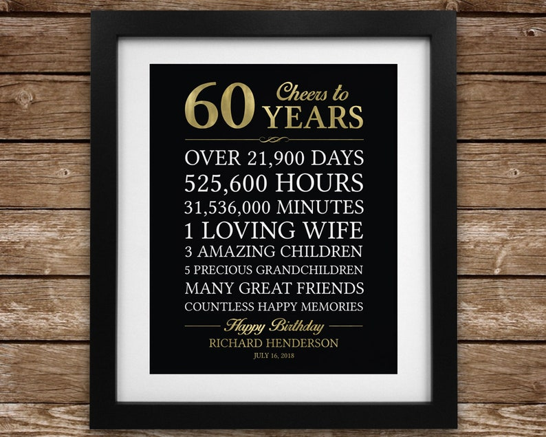 60th Birthday Gift For Man Personalized