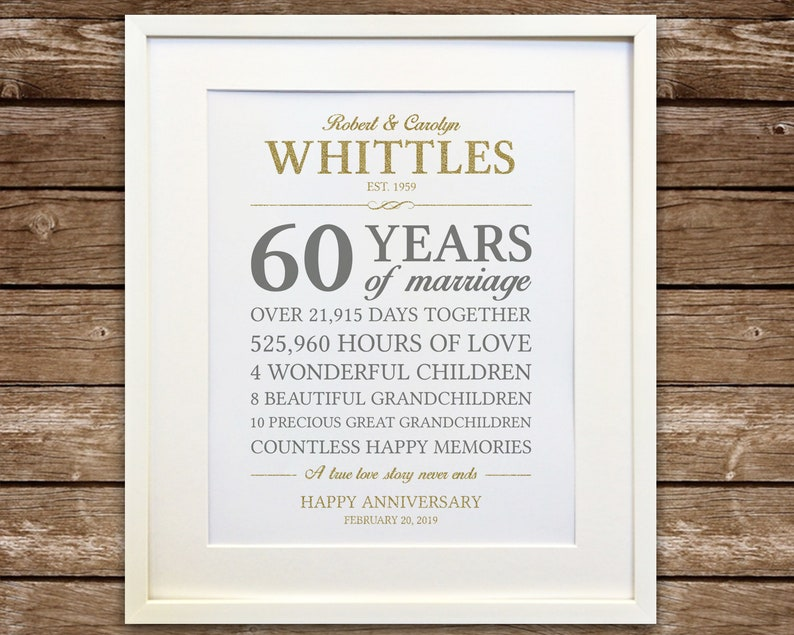 60Th Anniversary Gifts >> 60th Anniversary Gift Diamond Anniversary Anniversary Gift Etsy