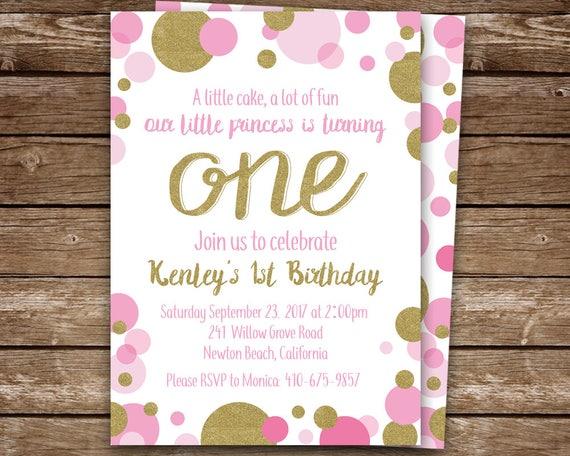 pink polka dot invitation