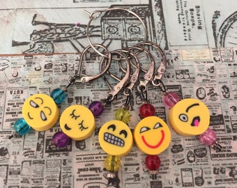 Set of Emoji Knitting Crochet Stitch Markers Progress Keepers, Emojis