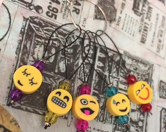 Set of Emoji Knitting Stitch Markers Progress Keepers, Emojis
