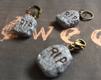 Handmade Polymer Clay Granite Gravestone, Tombstone, RIP, Knitting Crochet Stitch Marker Progress Keeper, Charm, Zipper Pull