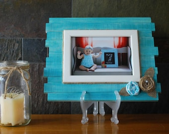 Monthly Baby Picture Frame Watch Me Grow Teal Frame Baby Etsy