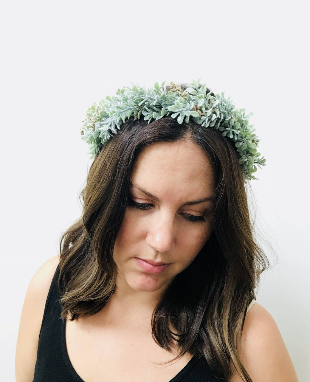 Foliage And Dried Baby Breath Crown Flower Headband Greenery