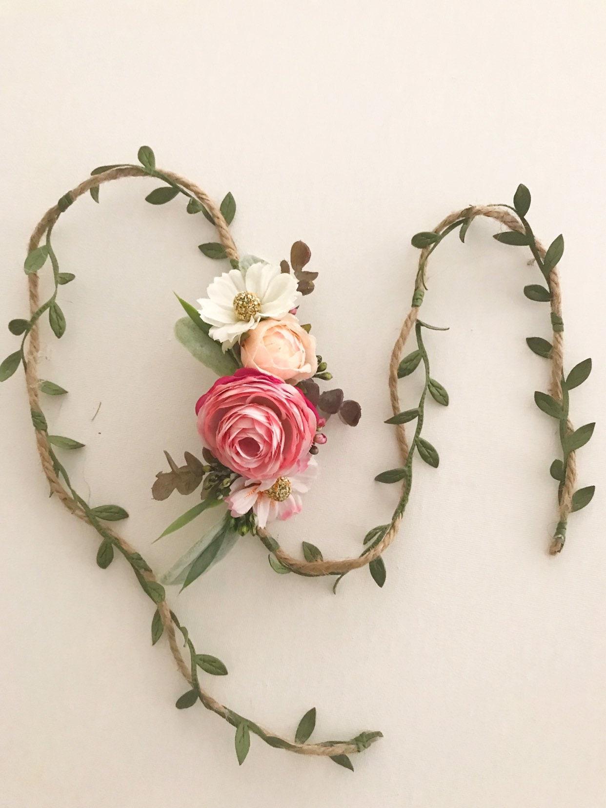 Pastel flower tie back | Girls Flower Crown | Baby Flower ...