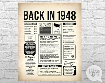 Back In 1948 Newspaper-Style DIGITAL Poster | 70th Birthday PRINTABLE Sign | 70th Birthday Poster | 70th Birthday Gift Ideas