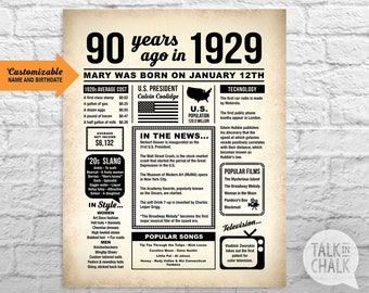 Customizable 90th Birthday DIGITAL Poster