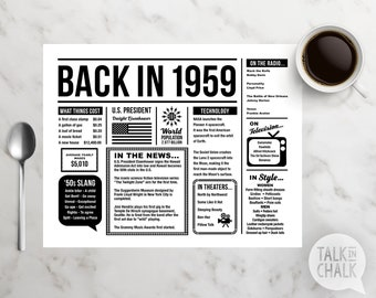 Back In 1959 PRINTABLE Placemat