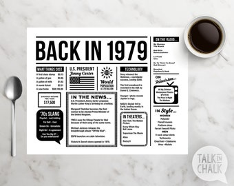 Back In 1979 PRINTABLE Placemat