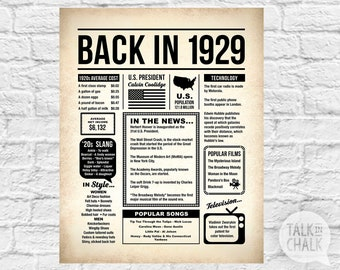 Back In 1929 PRINTABLE Newspaper Poster | 1929 DIGITAL Birthday Sign | 90th Birthday Gift | 90th Birthday Party Decorations