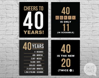 40th Birthday Black And Gold Glitter PRINTABLE Signs DIGITAL Posters Cheers To 40 Years Sign Decorations