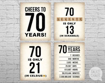 70th Birthday PRINTABLE Sign Pack DIGITAL Posters Cheers To 70 Years Decorations Instant Download