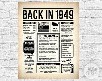 Back In 1949 PRINTABLE Newspaper Poster