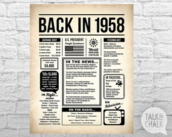 Back In 1958 PRINTABLE Newspaper Poster