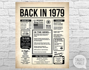 Back In 1979 PRINTABLE Newspaper Poster