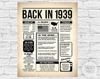 Back In 1939 PRINTABLE Newspaper Poster