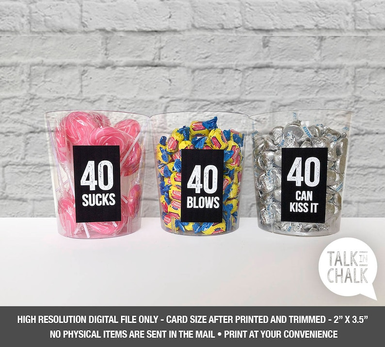 40th Birthday PRINTABLE Table Decorations 40 Sucks