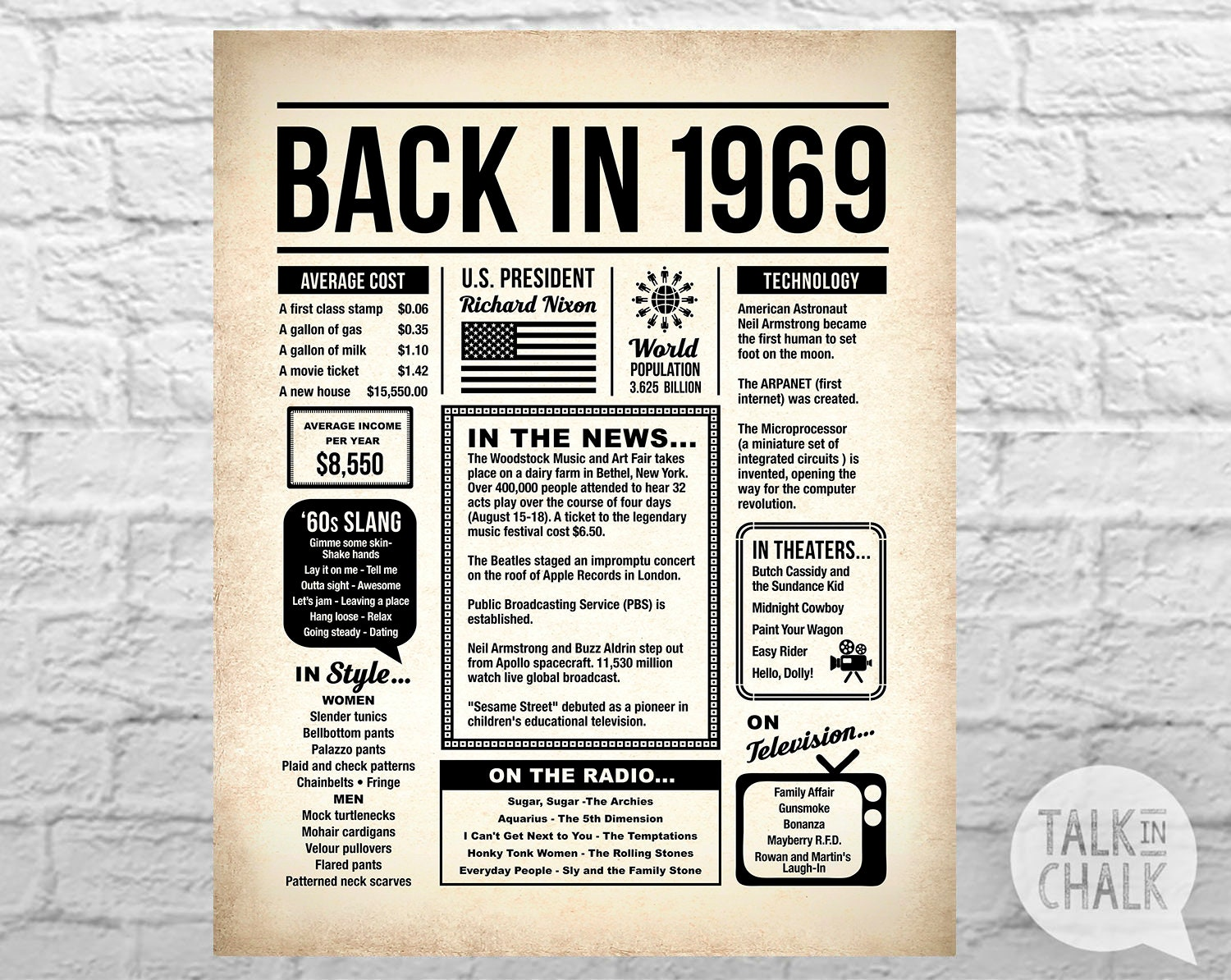 back in 1969 printable newspaper poster 50th birthday