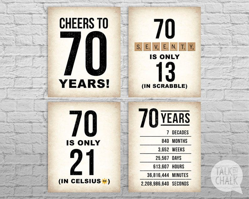 picture regarding Printable Posters named 70th Birthday PRINTABLE Posters 70th Birthday Indicator Pack - Electronic Documents  70th Birthday Decorations Cheers in the direction of 70 Decades