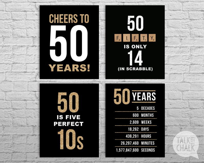 50th Birthday Black And Gold Glitter PRINTABLE Sign Pack